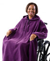 African American woman sitting in a wheelchair wearing a long, hooded purple robe that covers from shoulders to feet