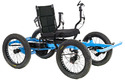 Black cushioned seat mounted on a blue iron frame with a vertical lever on each side of the seat and 4 wheels mounted to the frame