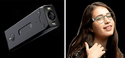 The left is the OrCam device that is a small black rectangular box that would fit on the earpiece of a pair of glasses. The right is a woman from the shoulders up with long brown hair and wearing glasses with the OrCam device attached to the glasses.
