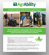 Cover image of AgrAbility impact publication featuring three farmers with disabilities and a staff member