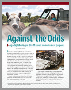 Image of first page of Against the Odds publication showing Carey Portell sitting in UTV in background with herd of cattle in foreground. Addition photo of wrecked car in on the page.