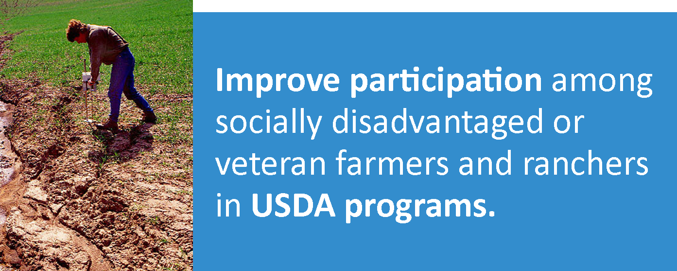 TechnicianTechnician examining drainage issue in farm field: Improve participation among socially disadvantaged or veteran farmers and ranchers in USDA programs.